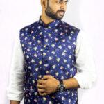 Digital Printed Satin Silk Nehru Jacket in Dark Blue
