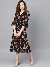 Women Black & Pink Printed Wrap Dress