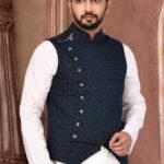 Plain Polyester Lycra Asymmetric Nehru Jacket in Navy Blue